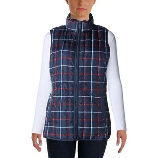 Tommy Hilfiger Womens Down Filled Plaid Vest - M