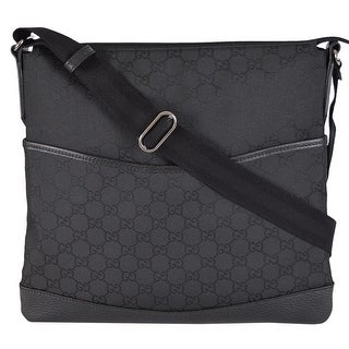 Gucci 374414 Small Black NYLON GG Guccissima Crossbody Messenger Purse Bag