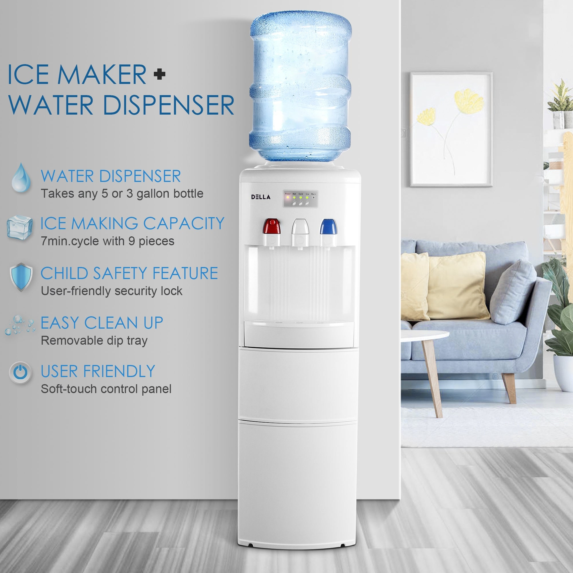 DELLA Water Dispenser Hot Cold Child Safety Lock Top Loading Ice Maker  Counter Spout Function Upright