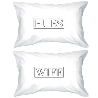 Hubs And Wife White Decoratvie Pillow Cases Unique Wedding Gifts