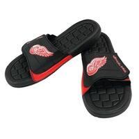 NHL Hockey Detroit Red Wings Slide Sandal Beach Shoe, Black/Red JVM0553BNH