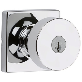 Kwikset 740PSKSQT-S  Pismo Single Cylinder Keyed Entry Door Knob Set with Square Rose and SmartKey