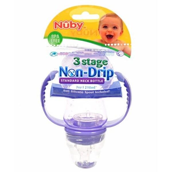Nuby 3 Stage Non-Drip 7-oz Standard Neck Bottle - multi