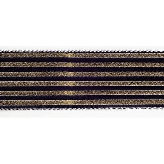 "Black and Gold Glitter Striped Wired Craft Ribbon 4"" X 60 Yards"
