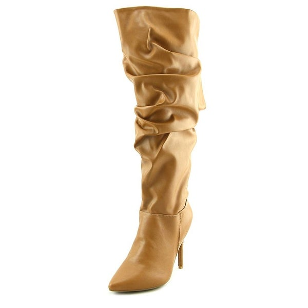 Anne Michelle Dedicate Women Pointed Toe Synthetic Tan Mid Calf Boot