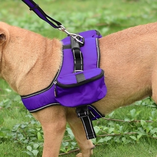 ONDOING Authorized Dog Backpack Bag Pet Carrier Bag for Walking Camping (Purple - L)