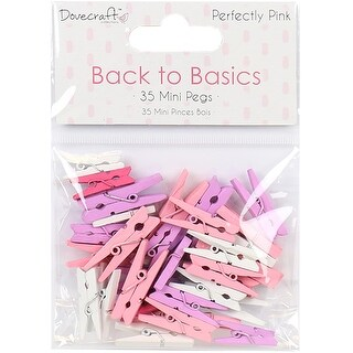 Dovecraft Back To Basics Mini Pegs 35/Pkg-Perfectly Pink