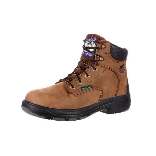 "Georgia Boot Work Men 6"" Flexpoint Waterproof Comp Toe Brown"