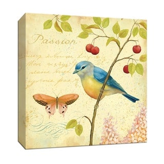 """PTM Images 9-152823  PTM Canvas Collection 12"""" x 12"""" - """"Garden Passion IV"""" Giclee Birds and Butterflies Textual Art Print on"""