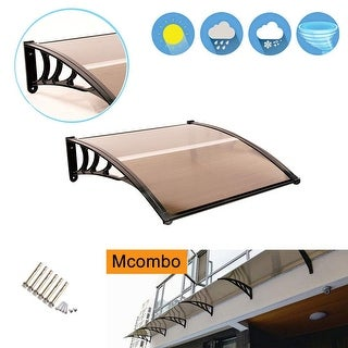 MCombo 40×40 FT Window Awning Polycarbonate Cover - 38.6(W)x 39(L) x 11(H) (Brown)