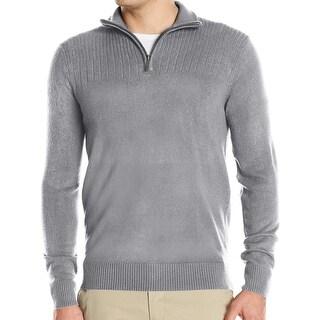 Geoffrey Beene NEW Medium Gray Mens Size 3XL 1/2 Zip Stretch Sweater