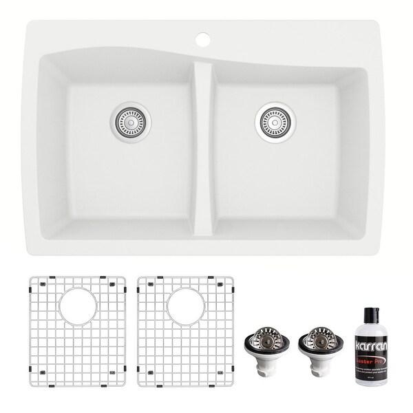 Karran Drop-In Quartz 34 in. 1-Hole 50/50 Double Bowl Kitchen Sink Kit. Opens flyout.