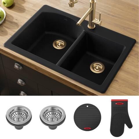 KRAUS Forteza Granite 33 inch 60/40 Undermount Drop-in Kitchen Sink