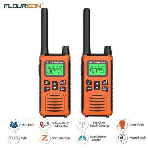 FLOUREON FRS/GMRS 462-467MHZ 22 Channel Twins Walkie Talkies Two Way Radio