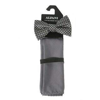 Alfani NEW Charcoal Gray Men's Canton Gingham Bow Tie Pocket Square