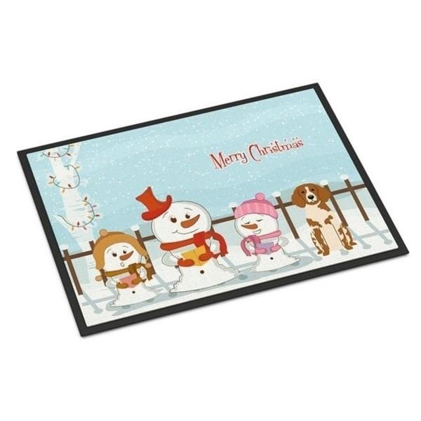 Carolines Treasures BB2403JMAT Merry Christmas Carolers Brittany Spaniel Indoor or Outdoor Mat 24 x 0.25 x 36 in.