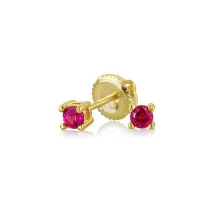 Bling Jewelry 925 Silver Red CZ Screwback Studs Gold Plated