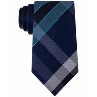 Kenneth Cole Reaction NEW Blue Mens One Size Track Plaid Silk Neck Tie