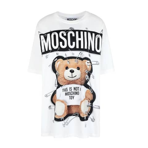 Moschino Couture Women's Cotton Crew Neck Robot Bear T-Shirt White - XS