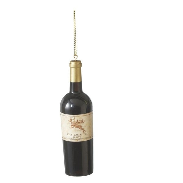 "4.25"" Tuscan Winery ""Chateau Santa"" Wine Bottle Christmas Ornament - black"