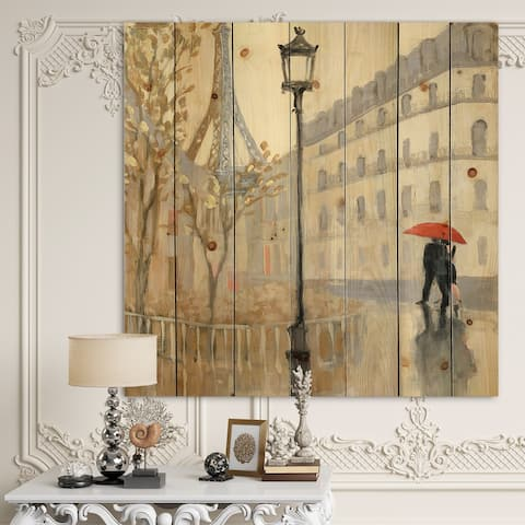 Designart 'Love in Paris V' Romantic French Country Print on Natural Pine Wood - Black