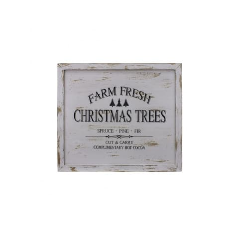"30 "" Distressed White Finished Farm Fresh Christmas Trees Wooden Wall Sign"
