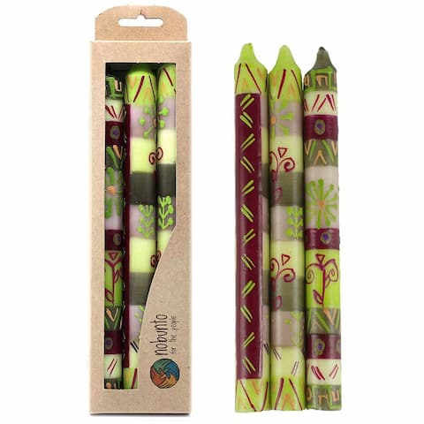 """Hand Painted Candles in """"Kileo"""" Design (Set of 3)"""
