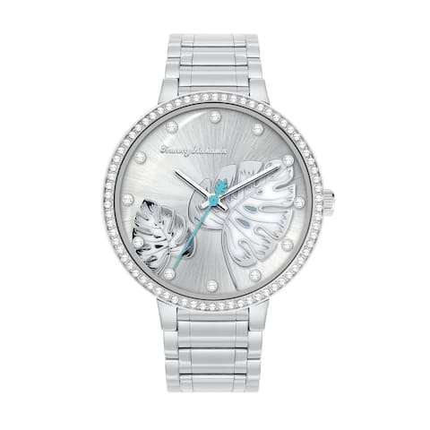 Tommy Bahama Women's Shimmery Fronds Crystal Accent Bracelet Watch - Silver