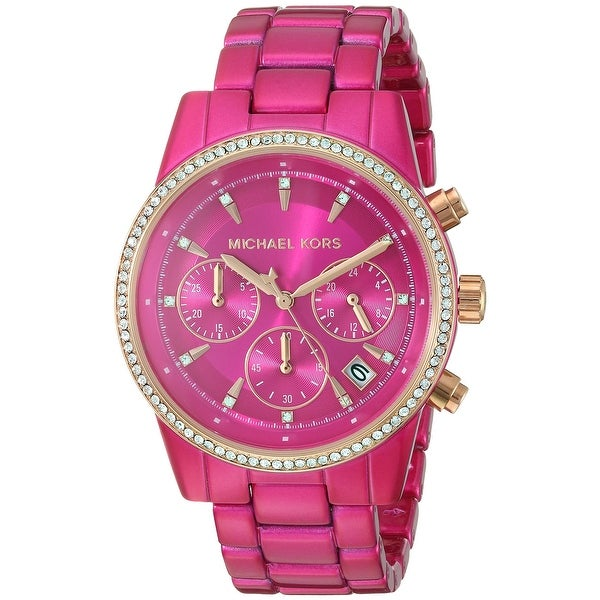 Michael Kors Women's MK6718 Pink Stainless Steel Watch - One Size. Opens flyout.