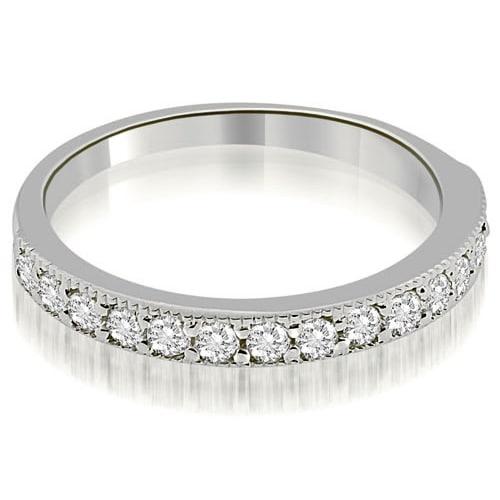 0.45 cttw. 14K White Gold Classic Milgrain Round Cut Diamond Wedding Band