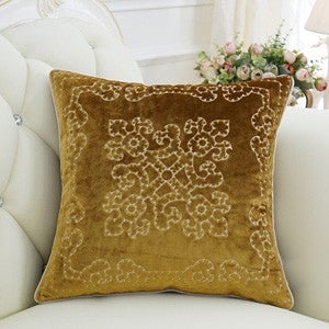 "Luxury Yellow Embroidered Floral Pillow 20""X20"""