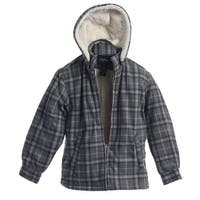 Gioberti Boys Gray Plaid Sherpa Lined Zip Up Hooded Flannel Jacket