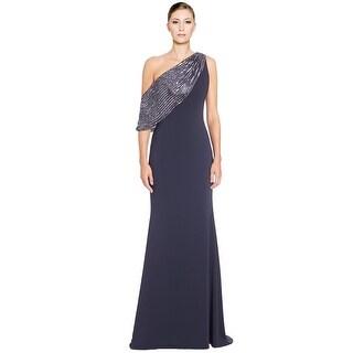 Badgley Mischka Beaded Draped Shoulder Evening Gown Dress - 2