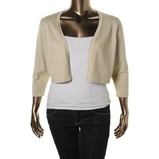 Chetta B Womens Metallic 3/4 Sleeves Cardigan Sweater - L