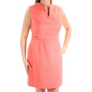 Womens Orange Tribal Sleeveless Knee Length Sheath Dress Size: 12