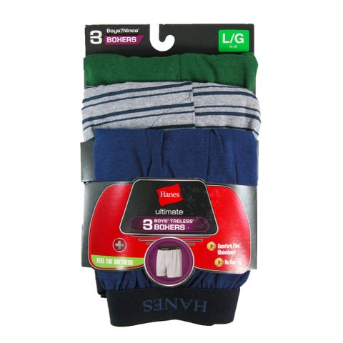 Hanes Boys' Knit Boxer Underwear (Pack of 3)