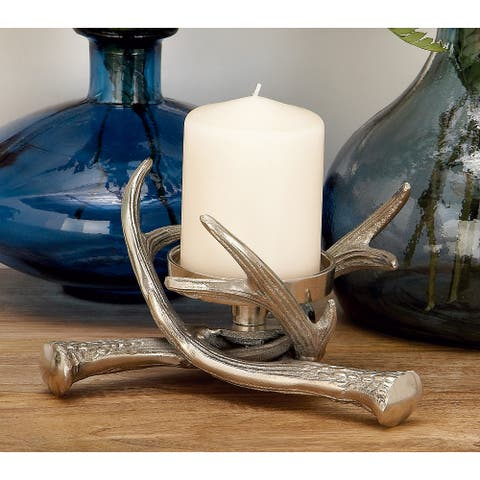 Silver Aluminum Traditional Candle Holder 4 x 8 x 8 - 8 x 8 x 4