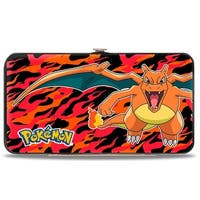Pokmon Charizard Close Up Pose2 Flames Black Orange Red Hinged Wallet - One Size Fits most