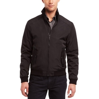 Kenneth Cole Reaction Pleather Trim Waister Jacket Large L Black Solid