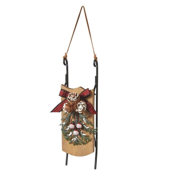 "6.75"" Country Cabin Snowy Pine Cone, Berry and Ribbon Wooden Sled Christmas Ornament"
