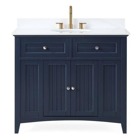 "42"" Thomasville Cottage Style Navy Blue Bathroom Sink Vanity"