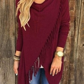 Long Sleeve Fringe Front Top - Sizing up to 3XL