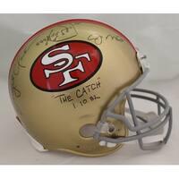 Joe Montana  Dwight Clark Autographed San Francisco 49ers Proline Helmet The Catch BAS