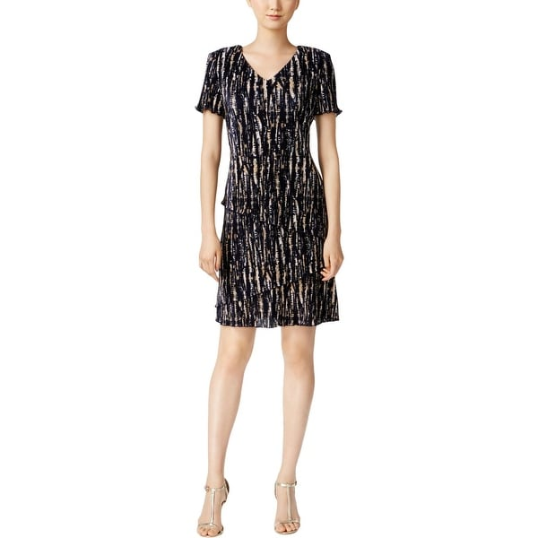 Connected Apparel Womens Sheath Dress Printed Tiered