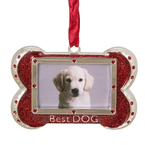 "3""Regal Shiny Silver Plated Red Best DOG Bone Picture Ornament with European Crystals"