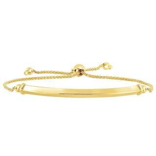 Mcs Jewelry Inc 14 Karat Yellow Gold Diamond Cut Wheat Bolo Bracelet With Carved Shiny Bar