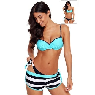 Cali Chic Women's Two Piece Swimsuit Celebrity Blue Wrinkled Bra Striped Bikini Bottom Swimwear for Women