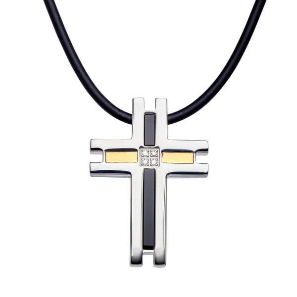 Dolan Bullock Men's Onyx Cross Pendant with Diamonds in Stainless Steel & 18K Gold