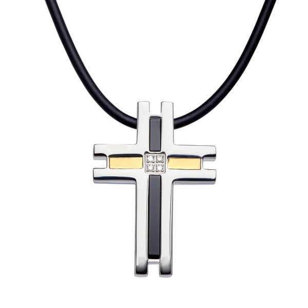 Shop dolan bullock mens onyx cross pendant with diamonds in dolan bullock menx27s onyx cross pendant with diamonds in stainless steel amp aloadofball Images