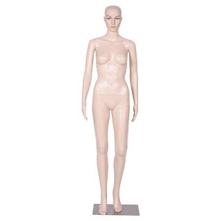 Costway Plastic Female Mannequin Realistic Head Turns Dress Form Display Full w/ Base